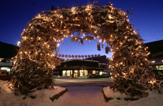 Town square tree lighting in jackson hole wyoming